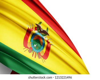 Bolivia   flag of silk with copyspace for your text or images and white background-3D illustration