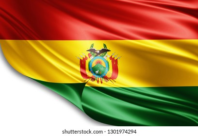 Bolivia flag of silk-3D illustration