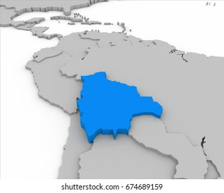 bolivia map 3D illustration