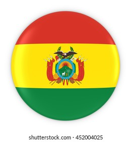 Bolivian Flag Button - Flag of Bolivia Badge 3D Illustration