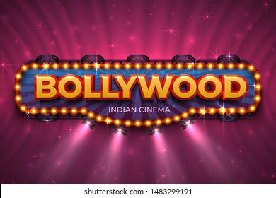 Bollywood background. Indian cinema poster with text and spot light, Indian cinematography stage.  3D Bollywood film event poster