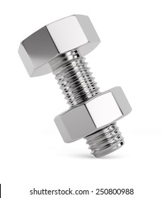 Bolt with nut isolated on white background. 3d render