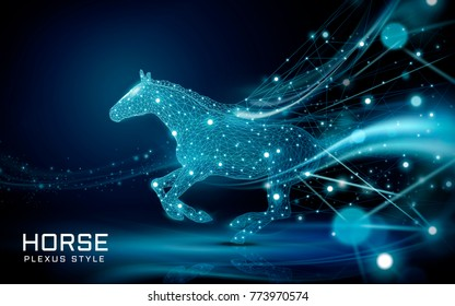 Bolting horse in plexus style, beautiful polygonal spots and lines composed as a horse with flying bokeh glittersing bokeh glitters