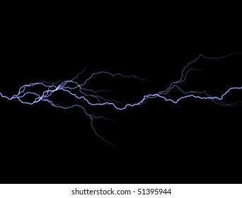 Bolts of lightning extend horizontally across a black background