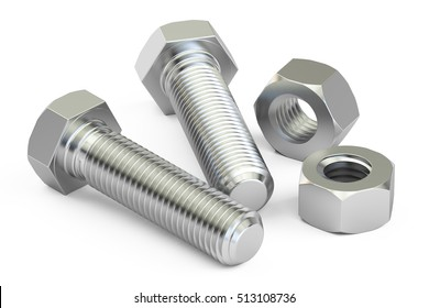Bolts with nuts closeup, 3D rendering isolated on white background
