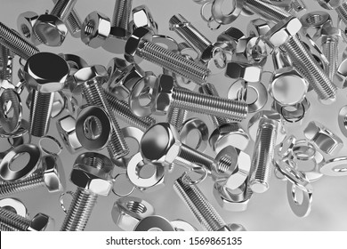 Bolts, nuts, washers, growers on a white background 3D rendering
