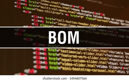 BOM concept illustration using code for developing programs and app. BOM website code with colourful tags in browser view on dark background. BOM on binary computer code, background
