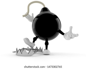 Bomb character with bear trap isolated on white background. 3d illustration