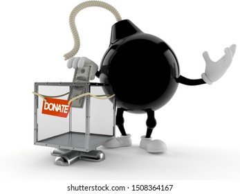 Bomb character with donation box isolated on white background. 3d illustration