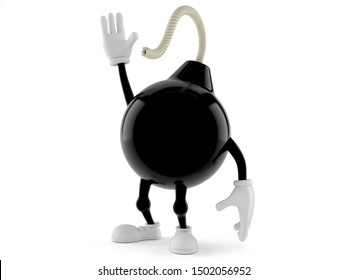 Bomb character with hand up isolated on white background. 3d illustration