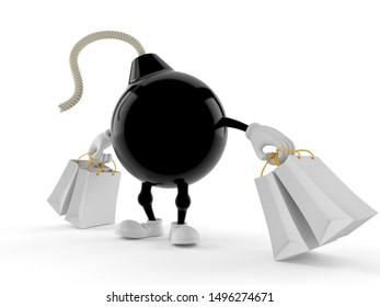 Bomb character holding shopping bags isolated on white background. 3d illustration
