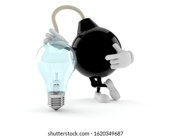 Bomb character with light bulb isolated on white background. 3d illustration