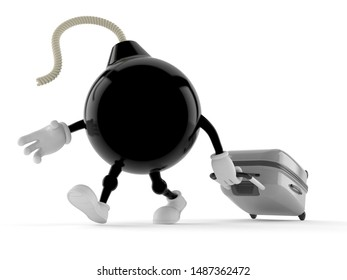 Bomb character with suitcase isolated on white background. 3d illustration