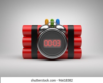 Bomb with clock timer 3D. Countdown. On gray background