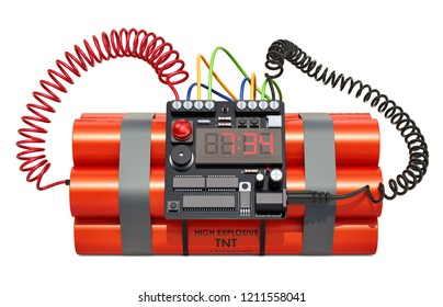 Bomb with digital clock timer. 3D rendering