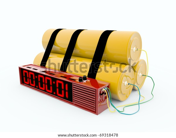 bomb with digital timer isolated on white background