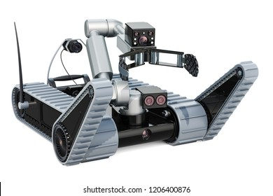 Bomb disposal robot, 3D rendering isolated on white background