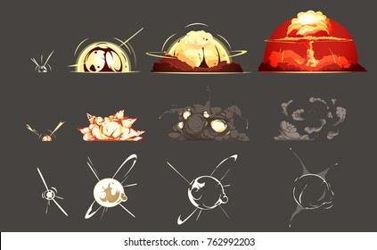 Bomb explosion freeze frame still images collection 3 sets with black background retro cartoon isolated  illustration