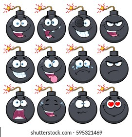 Bomb Face Cartoon Mascot Character With Emoji Expressions. Raster Illustration Isolated On White Background