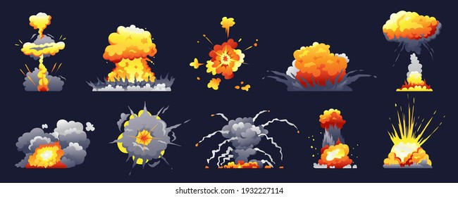 Bomb and fire explosion isolated cartoon set. realistic fiery boom, danger explosive bombs, detonation atomic clouds bursting over black. Dynamite detonator mobile and ui game animation icons