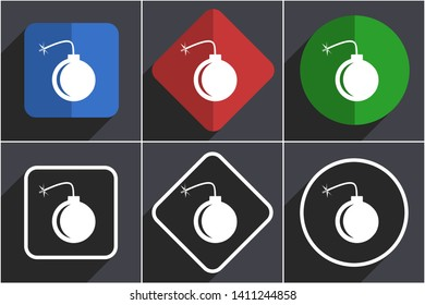 Bomb flat design icons with shadows