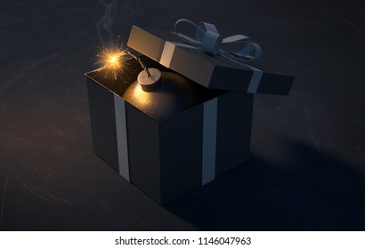Bomb in a giftbox (3D Rendering)