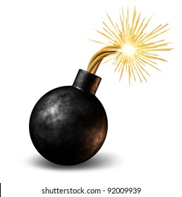 Bomb with lit burning fuse with fire sparks feeling the heat as a dangerous warning of an urgent deadline with an impending explosion warning on a white background.