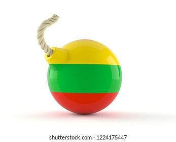 Bomb with lithuanian flag isolated on white background. 3d illustration