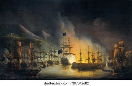 Bombardment of Algiers by the United Anglo-Dutch Naval Squadron, 1816, by Martinus Schouman, 1823, Dutch painting, oil on canvas. The strike was to gain the release of captive Europeans by the North A