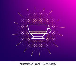 Bombon coffee icon. Halftone pattern. Hot drink sign. Beverage symbol. Gradient background. Bombon coffee line icon. Yellow halftone pattern.