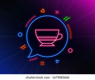 Bombon coffee icon. Neon laser lights. Hot drink sign. Beverage symbol. Glow laser speech bubble. Neon lights chat bubble. Banner badge with bombon coffee icon.