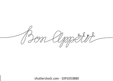BON APPETIT handwritten inscription. Hand drawn lettering. alligraphy. One line drawing of phrase.