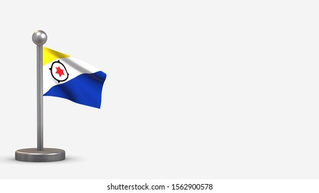 Bonaire 3D waving flag illustration on a tiny metal flagpole. Isolated on white background with space on the right side.