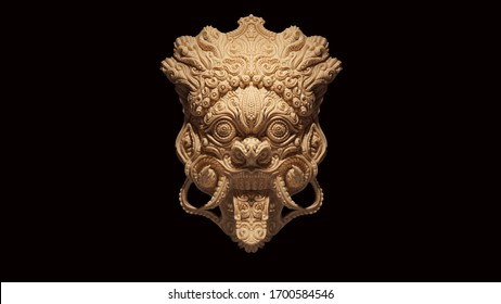 Bone Sacred Bali Mask Barong King of the Spirits Face White Cream 3d illustration 3d render