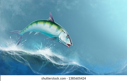 Bonefish jumping out of the waves against the backdrop of the ocean a realistic illustration. Bonefishing Season.
