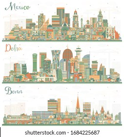 Bonn Germany, Mexico City and Doha Qatar City Skyline with Color Buildings. Business Travel and Tourism Concept with Modern Architecture. Cityscapes with Landmarks.