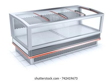 Bonnet freezer for shopping halls stores. 3d illustration isolated on white.