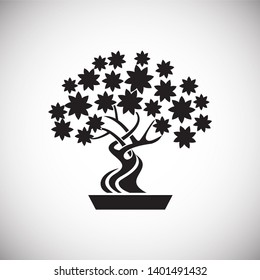 Bonsai icon on background for graphic and web design. Simple illustration. Internet concept symbol for website button or mobile app