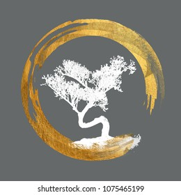 Bonsai Tree, Enso Circle Symbol. Calligraphy, Feng Shui. Asian Art. Japanese, Chinese, Asian. - Background Isolated -  Copy, Text, Body Space.