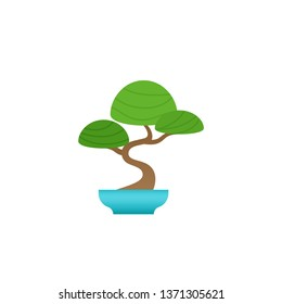 Bonsai Tree potted plant in pot. Indoor Chinese houseplant in flat design isolated on white background. Animated flower. Cartoon colorful illustration.