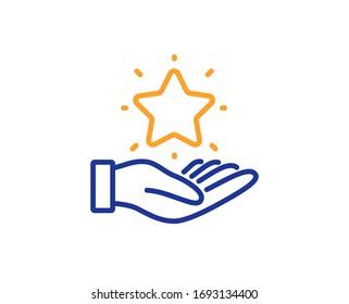 Bonus points. Loyalty program line icon. Discount star symbol. Colorful outline concept. Blue and orange thin line loyalty program icon.