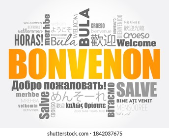 Bonvenon (Welcome in Esperanto) word cloud in different languages