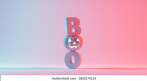 Boo! Happy Halloween day, lettering design with smiling pumpkin character on orange background, Trick or Treat, 3d render.