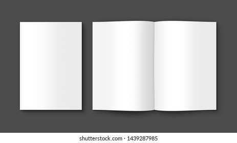 Book, Brochure, Magazine, Catalog empty Mock Up isolated on Gray background. 3D illustrating