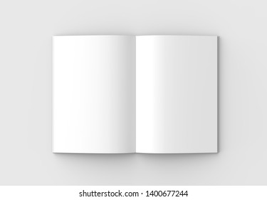 Book or catalog mock up isolated on soft gray background. 3D illustration, 3D rendering