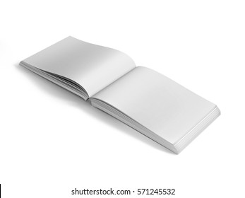 Book / Catalogue Mock-Ups Landscape, Blank Square Book / Catalogue Mock-Ups at White Design Paper Background, Realistic Rendering, 3D Illustration.