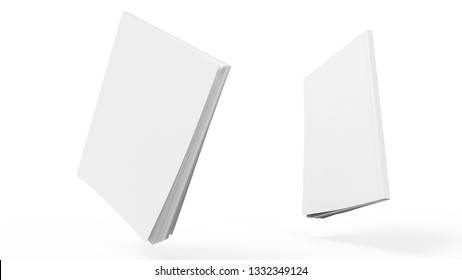 Book cover clear mockup 3d render illustration. Notepad with realistic light and shadow on face. Sketchpad empty template. Blank paper note. Journal model perspective view.