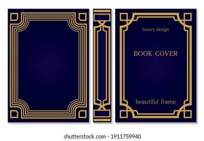 Book cover design template. Decorative vintage frame or border with corners to be printed on covers and pages of books. Title and last page and spine of the book. Rasterized version.