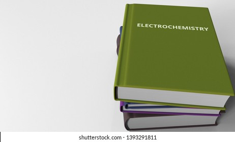 Book cover with ELECTROCHEMISTRY title. 3D rendering
