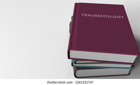 Book cover with TRAUMATOLOGY title. 3D rendering